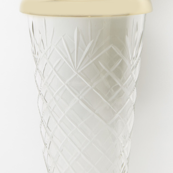 Embossed Pillar Candle Holder - 14x14x53 cms