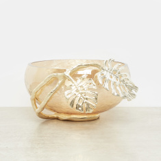 Decorative Bowl with Leaf Accent - 24x21.5x13 cms