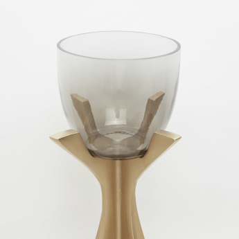 Metallic Pillar Candle Holder - 17x17x39 cms
