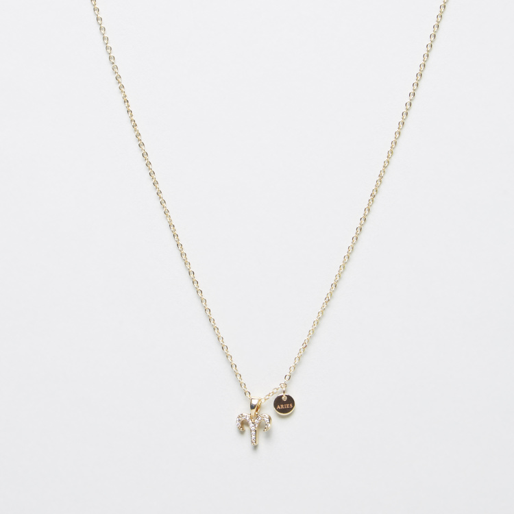 Sentiments Necklace with Aries Stone Studded Pendant