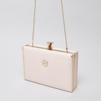 Peach Embellished Box Clutch