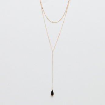 Double Layered Necklace with Teardrop Pendant