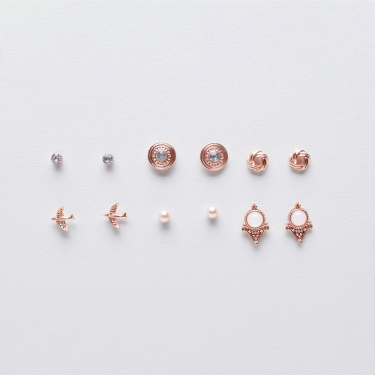 Sasha Stud Earrings with Push Back Closure - Set of 12