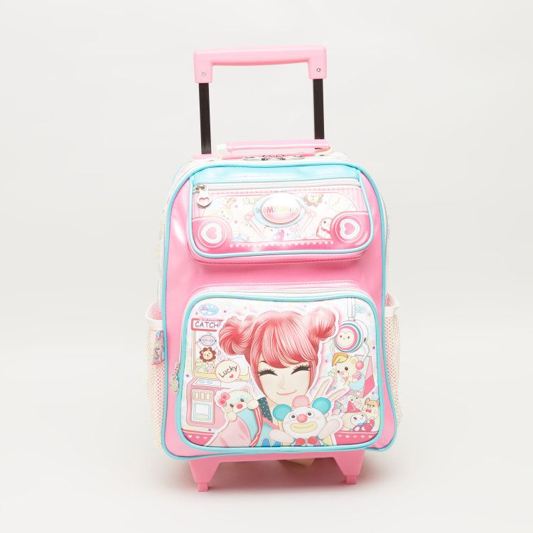 Minmie Bunny Printed Trolley Backpack - 29x36 cms