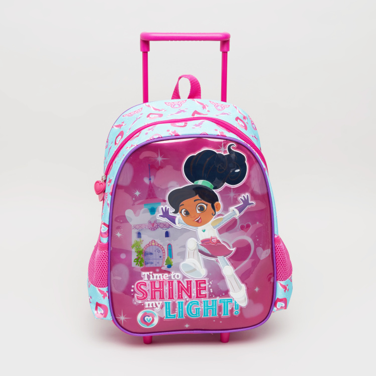 Nella the Princess Knight Printed Trolley Backpack - 43x12x30 cms