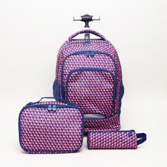 New Expressions Printed 3-Piece Trolley Backpack Set