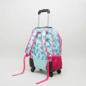 New Expressions Dots Floral Printed Trolley Backpack - 32x14x41 cms