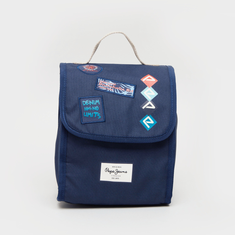 Pepe Jeans Paul Blue Printed Lunch Bag with Flap Closure