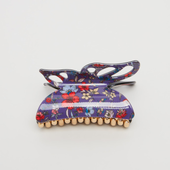 Floral Printed Hair Clamp with Butterfly Cutwork Handle