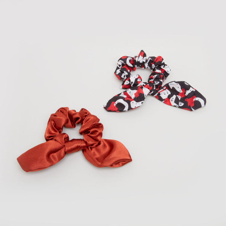 Assorted Scrunchie with Knot Detail - Set of 2
