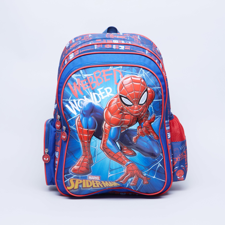 Disney Spider Man Printed Backpack with Zip Closure - 32x15x45.7 cms