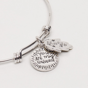 Embellished Bangle with Fatima & Text Charms