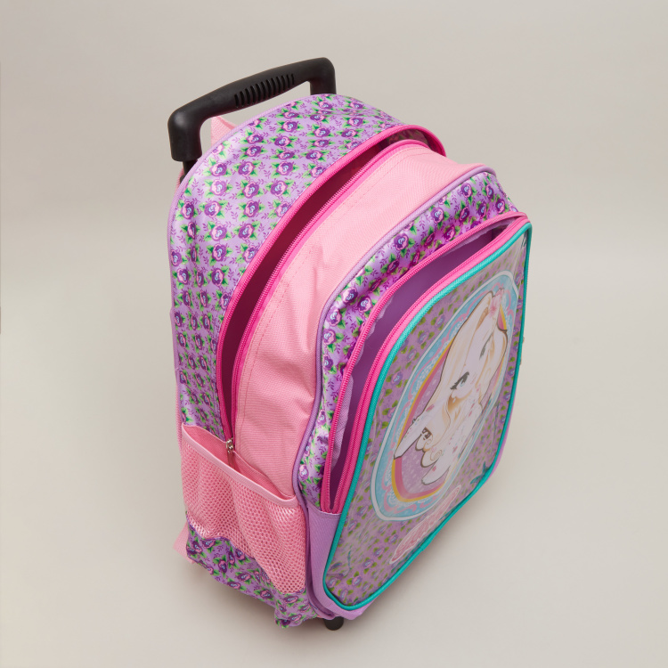 Printed Trolley Backpack with Zip Closure - 31x15.5x43 cms