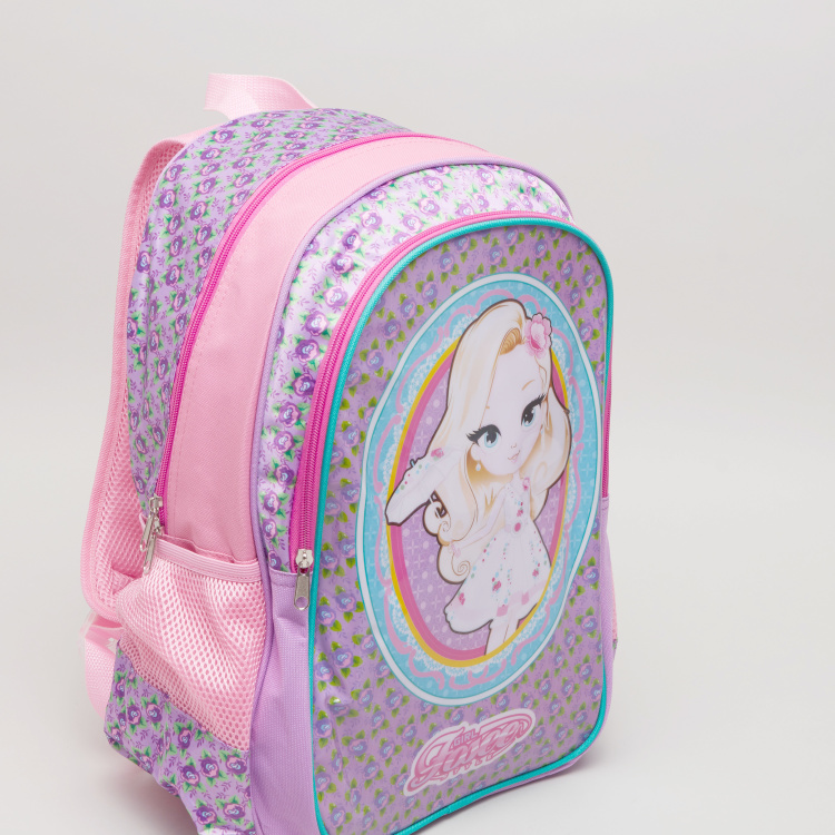 Printed Backpack with Zip Closure - 31x15.5x43 cms