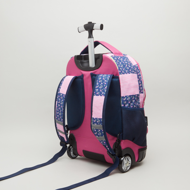 Clo Clo Patchwork Trolley Backpack with Shoulder Straps - 32x22x46 cms