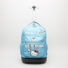 HK Turquoise Printed Trolley Backpack with Zip Closure - 32x22x46 cms