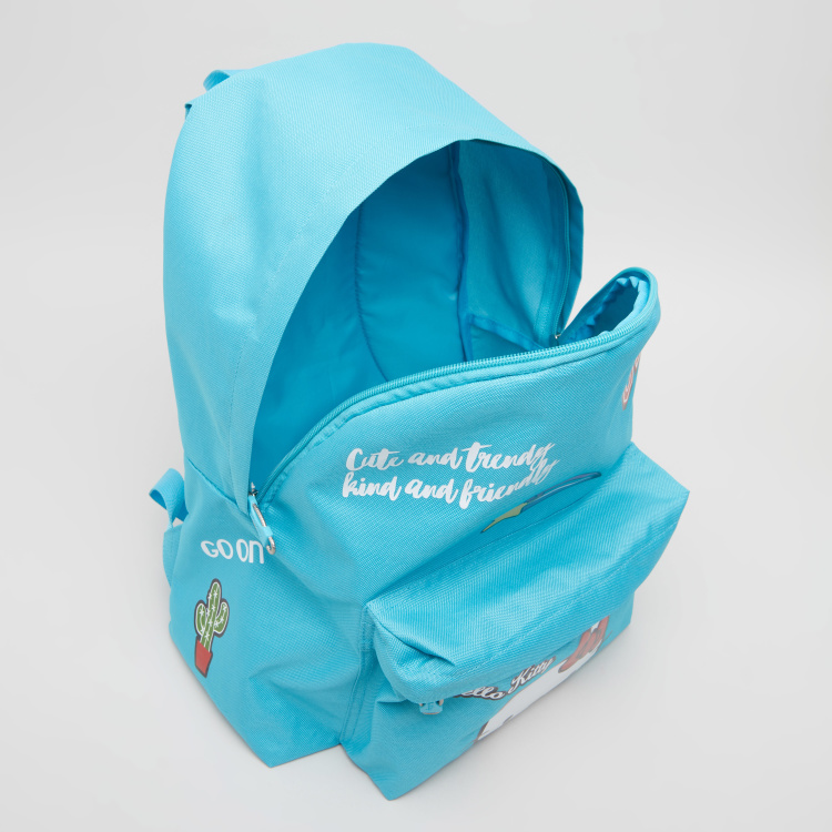 HK Turquoise Printed Backpack with Zip Closure - 31x15x40 cms