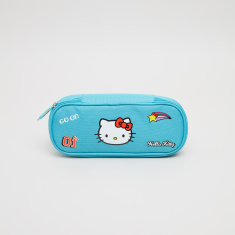 HK Turquoise Printed Pencil Case with Zip Closure