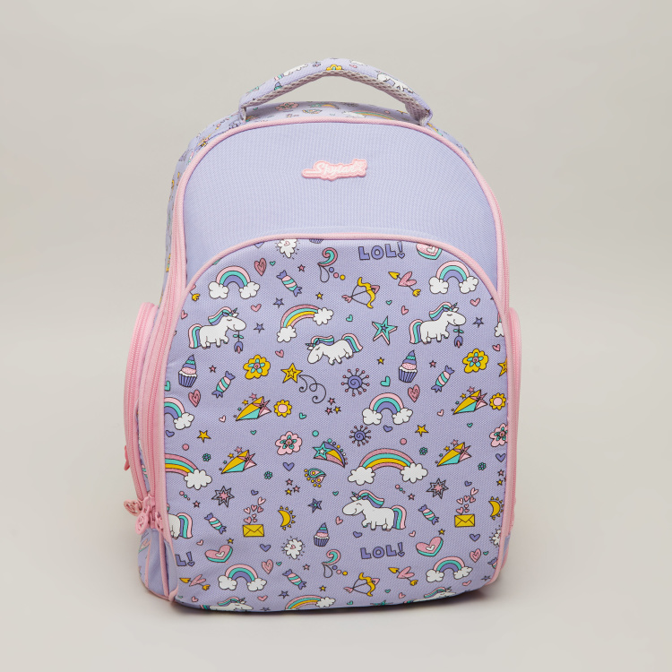 SPYKER Unicorn Printed Backpack with Zip Closure- 31x19x40.5