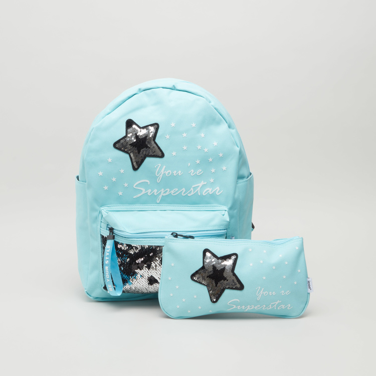 icon Embellished Backpack and Pouch Set
