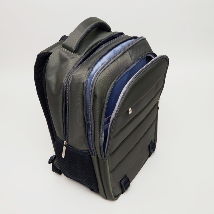 Textured Backpack with Zip Closure - 45.5x32x19 cms