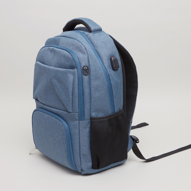 Textured Backpack with Zip Closure - 45.5x30x17.5 cms
