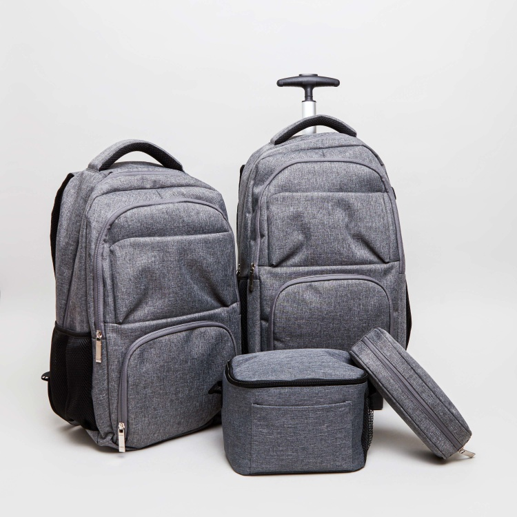 Textured Trolley Backpack with Zip Closure - 45.5x30x17.5 cms