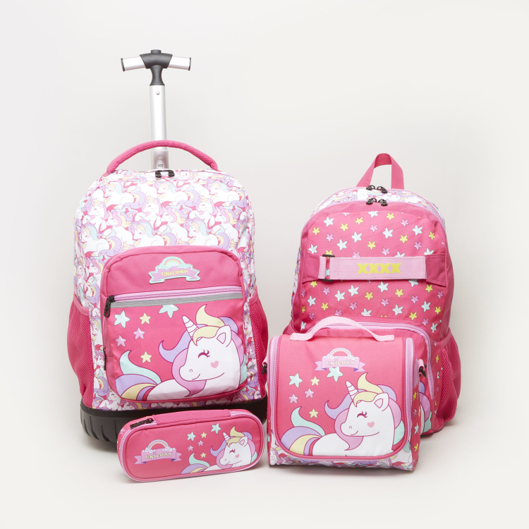 Unicorn Printed Trolley Backpack with Zip Closure - 32x22x46 cms