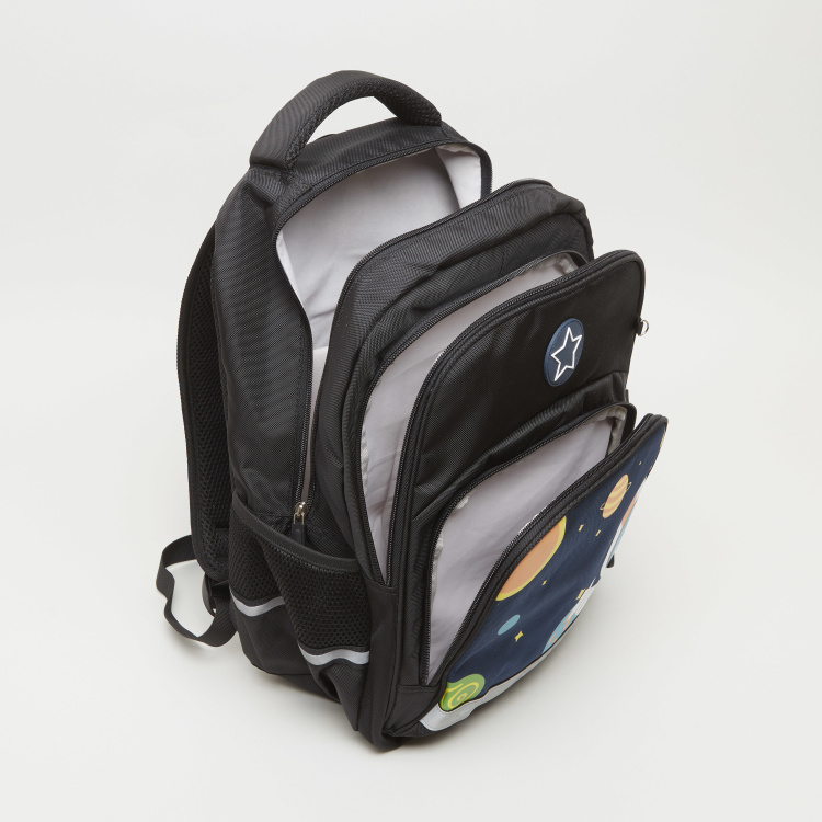 Printed Backpack with Zip Closure - 32x22x42 cms