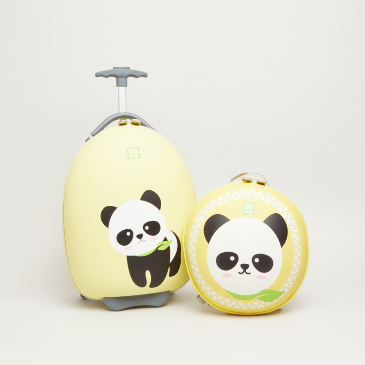 Printed Panda Trolley with Zip Closure - 23x30x45 cms