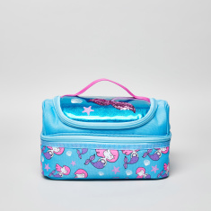 Yolo Mermaid Printed Double Decker Lunch Bag with Zip Closure