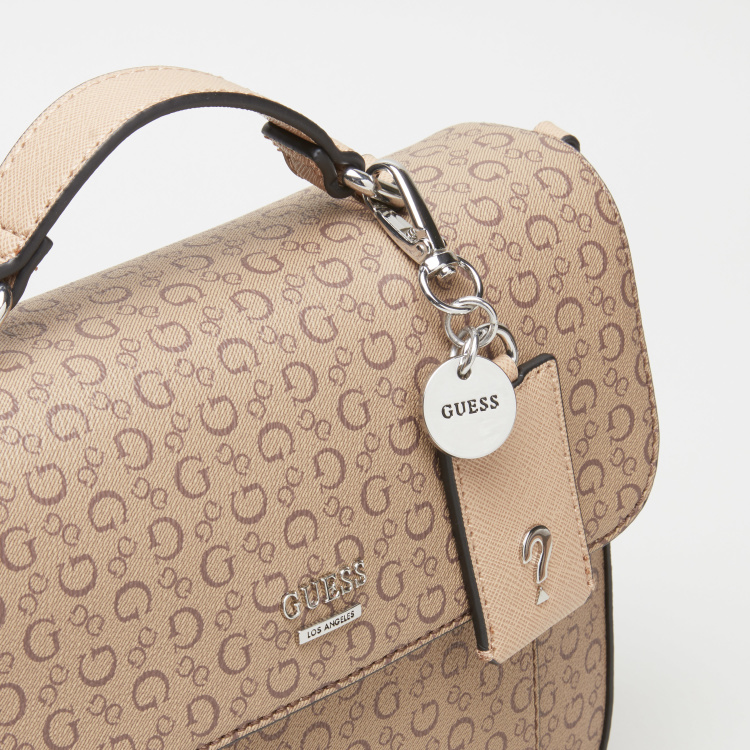 Guess Printed Satchel Bag with Snap Button Closure