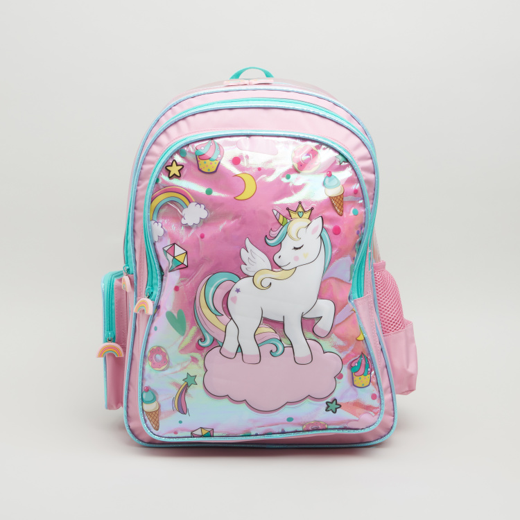Unicorn Print Backpack with Zip Closure and Charms - 44.5x33x13.5 cms