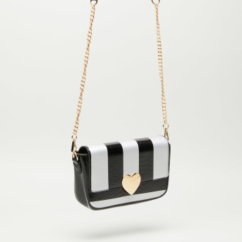 Striped Crossbody Satchel Bag with Detachable Sling Strap