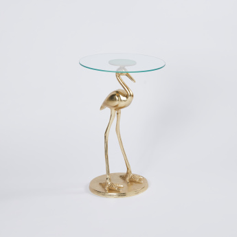 Heron Glass Top Stadium Accent Table - 40x40x62 cms