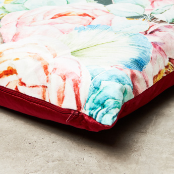 Lei Velvet Floral Print Filled Cushion - 45x45 cms