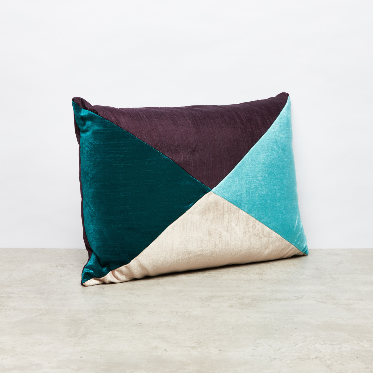 Elsa Geometric Patch Velvet Cushion - 35x50 cms