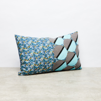 Floral Print Rectangular Cushion with Woven Design - 30x50 cms