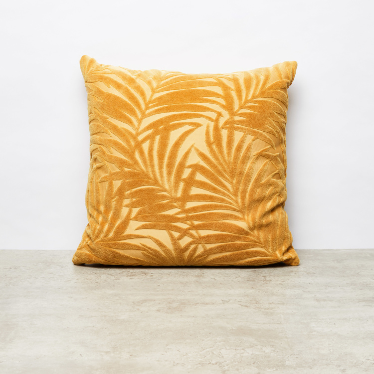 Leaf Embossed Square Velvet Cushion - 45x45 cms