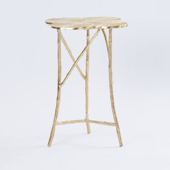 Metallic Leaf Top Accent Table - 43x43x55 cms