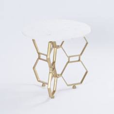 Honeycomb Coffee Table with Marble Top - 52x52x50 cms