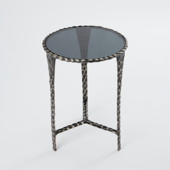 Hammered Side Table with Glazed Finish - 43x43x60 cms