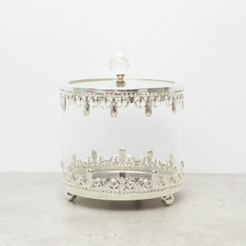 Embellished Glass Canister with Lid - 12x12x14.5 cms