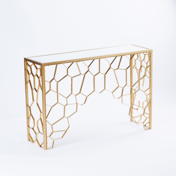 Stella Metal and Glass Console Table - 119x35x79.3 cms