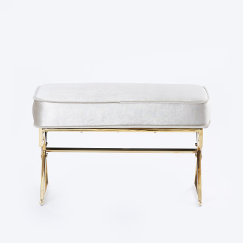 Velvet Cross Stainless Steel Coated 2-Seater Bench - 73.5x41.5x46 cms