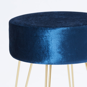 Round 1-Seater Ottoman in Velvet Finish and Wire Stand - 35x35x42 cms