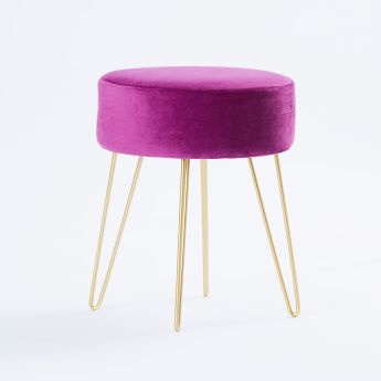 Round 1-Seater Metal Wire Stand Ottoman - 35x35x42 cms