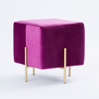 Square Stoving Varnish Ottoman - 41x41x44 cms