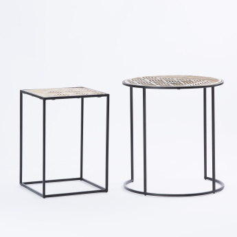 Round And Square Accent Table Set Of 2 Gold