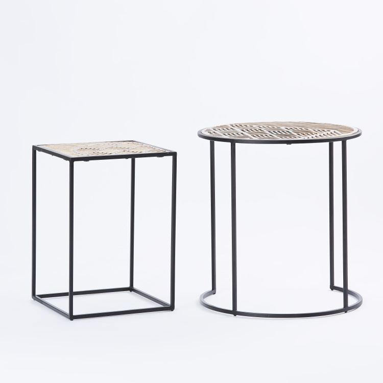 Round and Square Accent Table - Set of 2